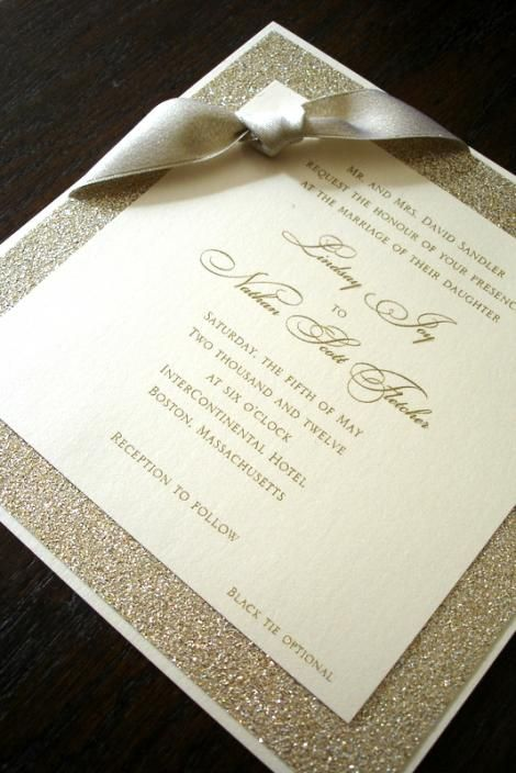 Sparkly champagne wedding invitaions.  www.clovercreek.com