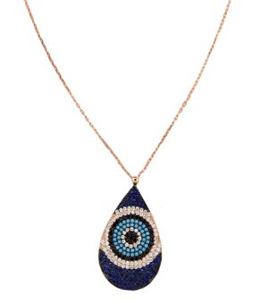 Handmade evil eye drop necklace, made of pink gold plated silver 925o with turquoise, white and black zirconia - Χειροποίητο ασημένιο κολιέ μάτι σταγόνα από ροζ επιχρυσωμένο ασήμι 925ο με τυρκουάζ, λευκά και μαύρα ζιργκόν