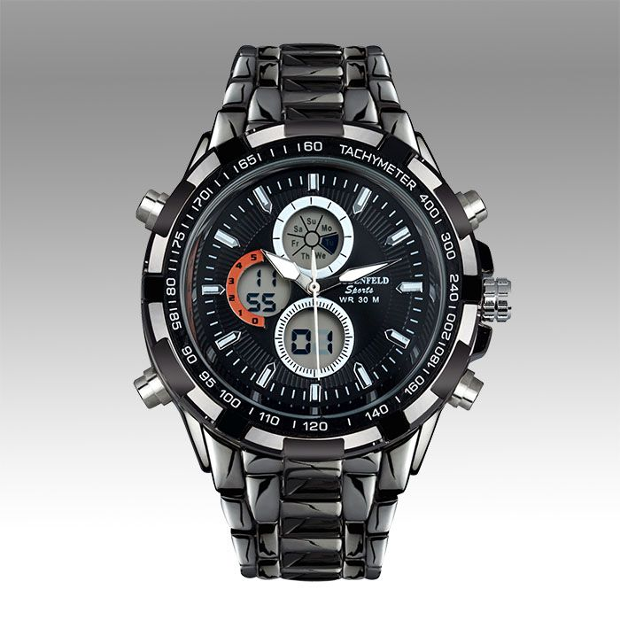 Globenfeld Sports Shark comes with a jet black dial framed by a contrasting Tachymeter.