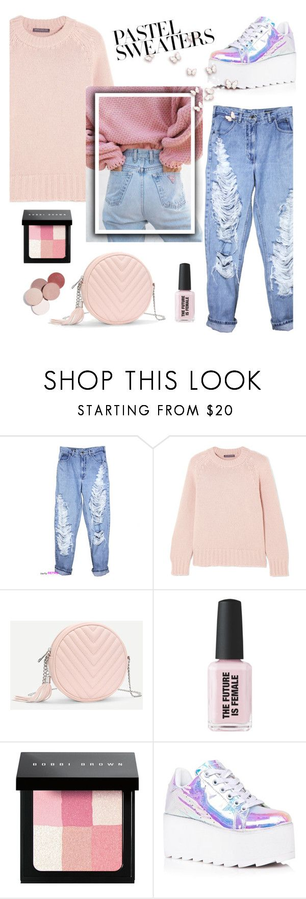 """Give me one more chance girl"" by holography ❤ liked on Polyvore featuring Alexander McQueen, Bobbi Brown Cosmetics, Y.R.U., LunatiCK Cosmetic Labs and pastelsweaters"
