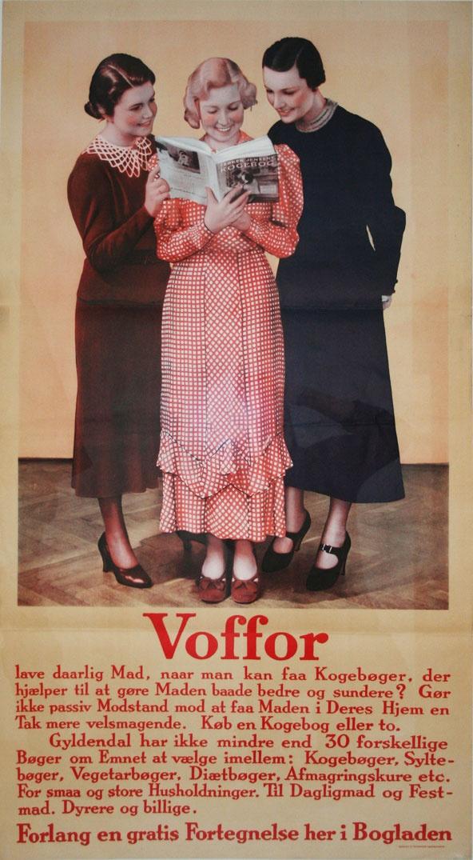 """Læs endelig teksten på den her: """"Gør ikke massiv modstand mod at faa Maden i Deres Hjem en Tak mere velsmagende""""    Original retro-plakat fra Forlaget Gyldendals gemmer."""