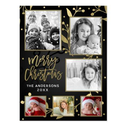 Black & Gold Botanical Merry Christmas 6 Photo Postcard - rustic gifts ideas customize personalize