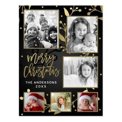 Black & Gold Botanical Merry Christmas 6 Photo Postcard - merry christmas diy xmas present gift idea family holidays
