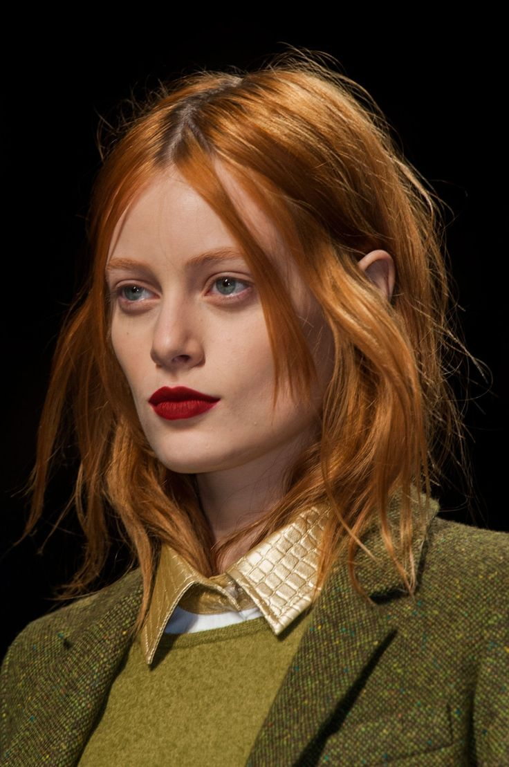 matte red lip at max mara fall 2014