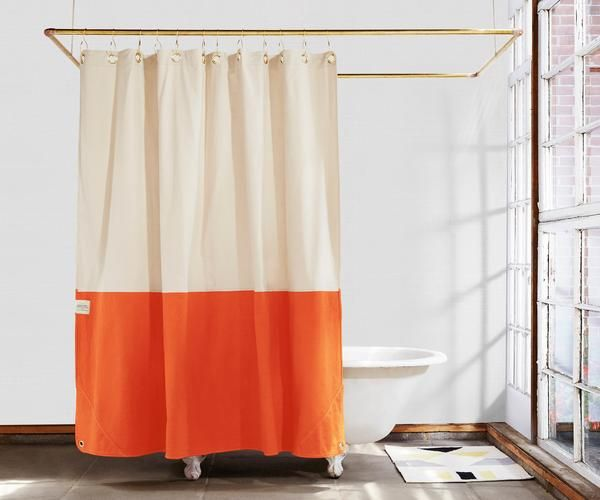Everytown X Quiet Town Orient Wear Orange Shower Curtains Orange