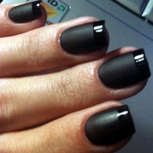 love this. - 1. paint on black. 2. apply matte coat http://www.amazon.com/Essie-Matte-About-You-Finisher/dp/B002LA1SJE/ref=sr_1_2?ie=UTF8&tag=shadmano-20&qid=1314636767&sr=8-2 3. cover nails with tape then do normal shiny black on parts not covered. easy peasy.