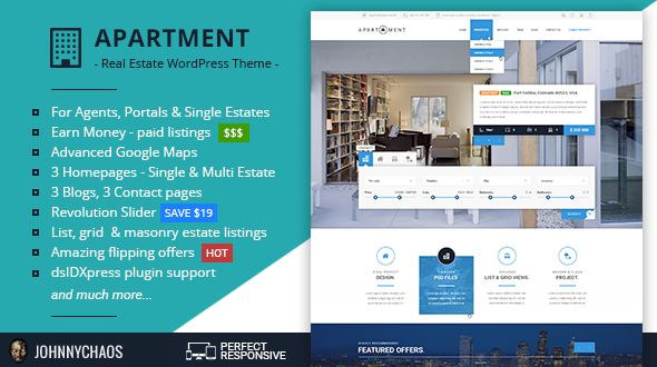 Apartment WP - Real Estate Responsive WordPress Theme for Agents, Portals & Single Property Sites . Apartment WP is a modern and creative responsive Real Estate WordPress Theme for Agents, Portals & Single Property Sites. Beautifully crafted on the one hand and technically advanced (but yet simple to customize) on the other