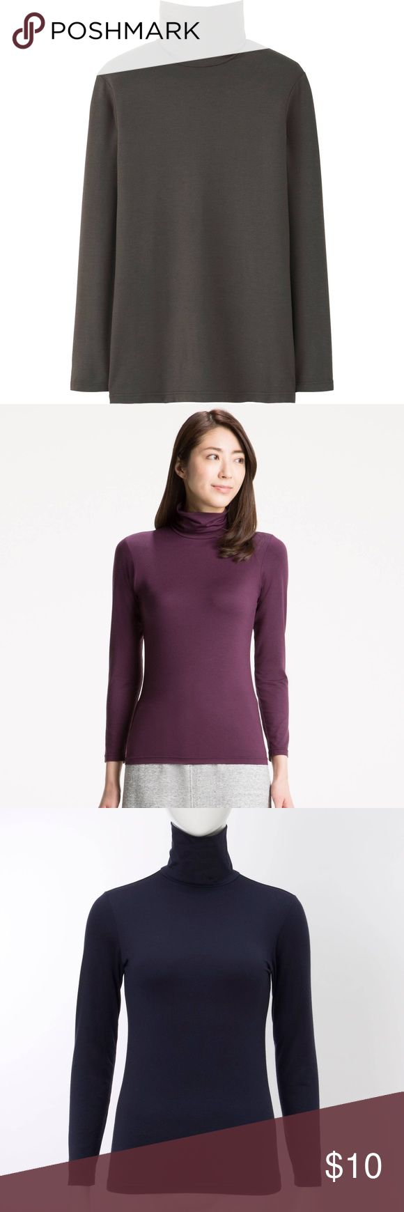 {Uniqlo} Heattech Olive turtleneck. Uniqlo Heattech Olive turtleneck top. Perfect for layering on. Stretchy and fitted, not bulky, with a smooth feel for superb cold-weather comfort. Different color shirts are posted for inspiration only, the one I'm selling is in Olive. Used once. Make an offer!🎀🛍📦 Uniqlo Tops Tees - Long Sleeve