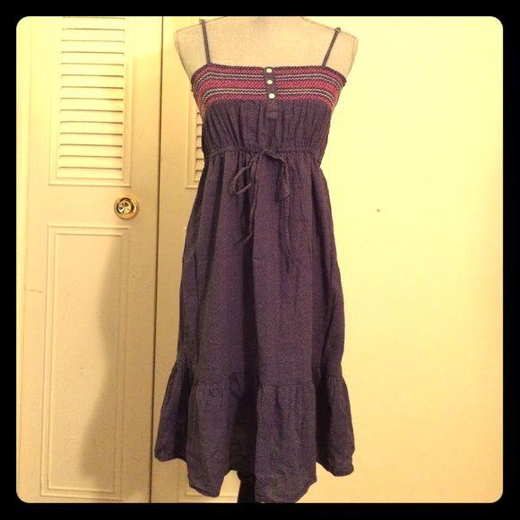 Blue Sundress Blue sundress with little pink polka dots, adjustable straps H&M Dresses