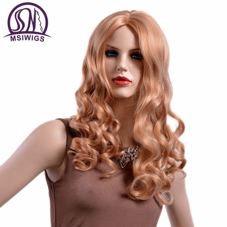 MSIWIGS Wavy Blonde Wigs for Women Two Colors Synthetic Ombre Ladies Wig Long Natural Hair Heat Resistant Fiber