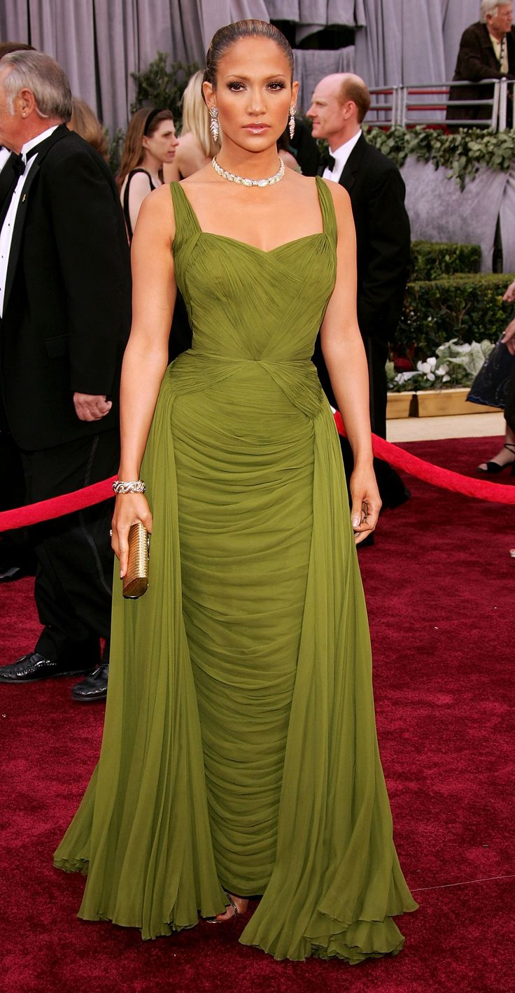 Oscars 2007 - Jennifer Lopez wears a vintage beautiful loden green designed gown by Jean Desses.  She also wore vintage Fred Leighton jewels; gold and diamond pieces with the dress.