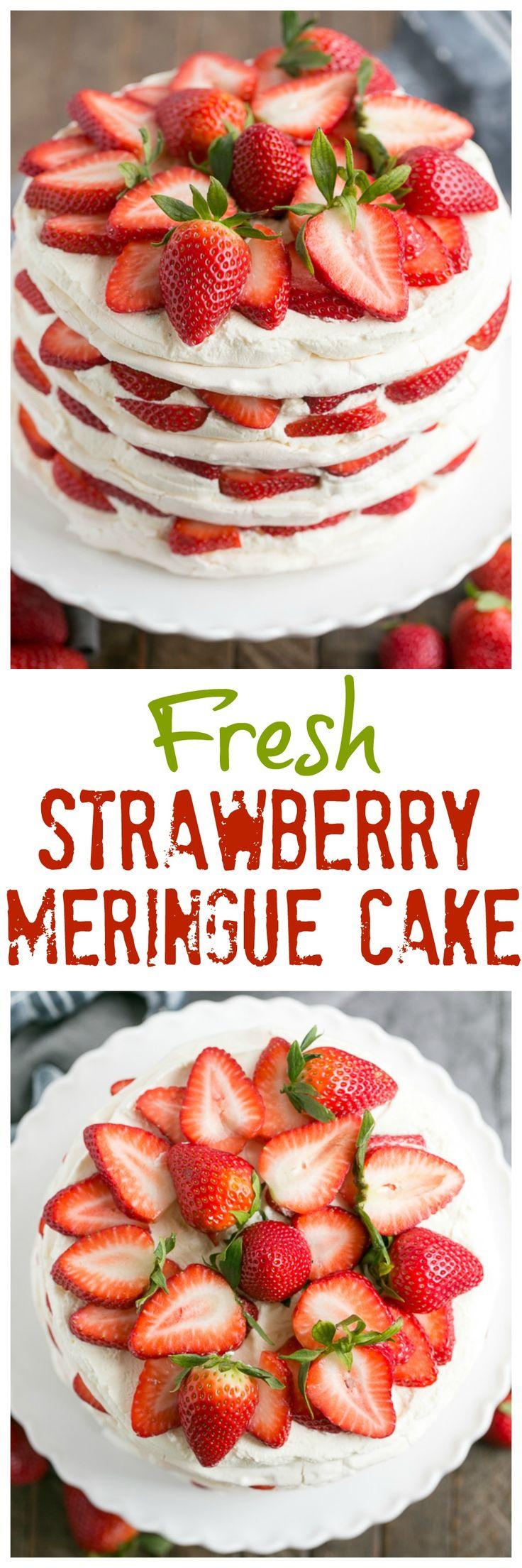 Fresh Strawberry Meringue Cake | A luscious dessert with layers of baked meringue, fresh strawberries and mascarpone whipped cream! #SundaySupper