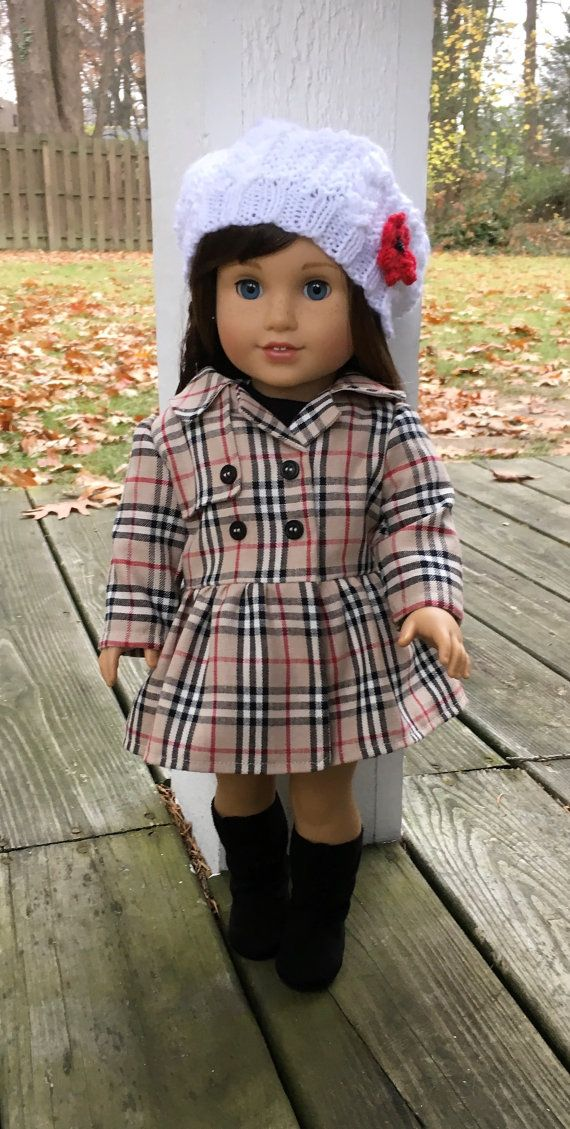 18 doll like american Girl doll plaid coat by MySewYouCreations
