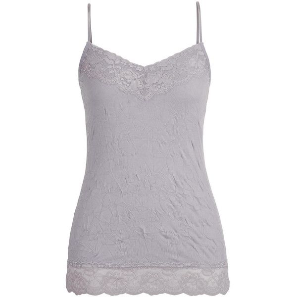 maurices Maurices - Crinkle Cami In Silver Gray ($20) ❤ liked on Polyvore featuring intimates, camis, silver camisole, silver cami, maurices, gray camisole and grey camisole