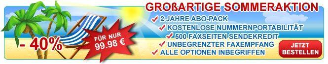 Popfax bietet einen beträchtlichen Sommer-Rabatt von 40 % auf ein komplettes Fax-Kommunikationspaket an. Schöne Sommerzeit für alle!    -  2 Jahre Abo-Pack mit lokaler Faxnummer (Nummernportabilität ist angeboten)  -  500 Faxseiten Sendekredit, unbegrenzter Faxempfang -  Das Optionen-Paket mit allen Features inbegriffen(Fax to E-Mail, Fax Einschreiben, personalisierter Faxversand, Fax Archivierung, Sprachnachrichten usw.)   Mehr Information auf: http://www.popfax.com