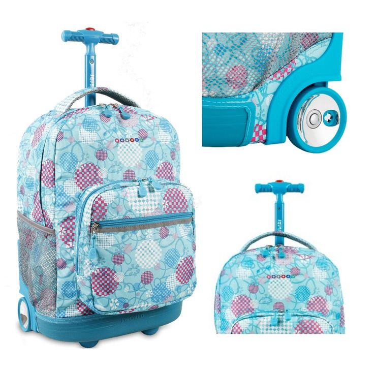 Girls #Rolling #Backpack Wheeled Book Bag #School Kids Travel Carry Luggage Tote