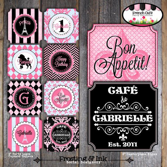 Paris Party - French Cafe Bistro - Complete Collection - Toppers, Banner, Favor Tags & More - Customized Printable (Parisian Birthday). $38.00, via Etsy.