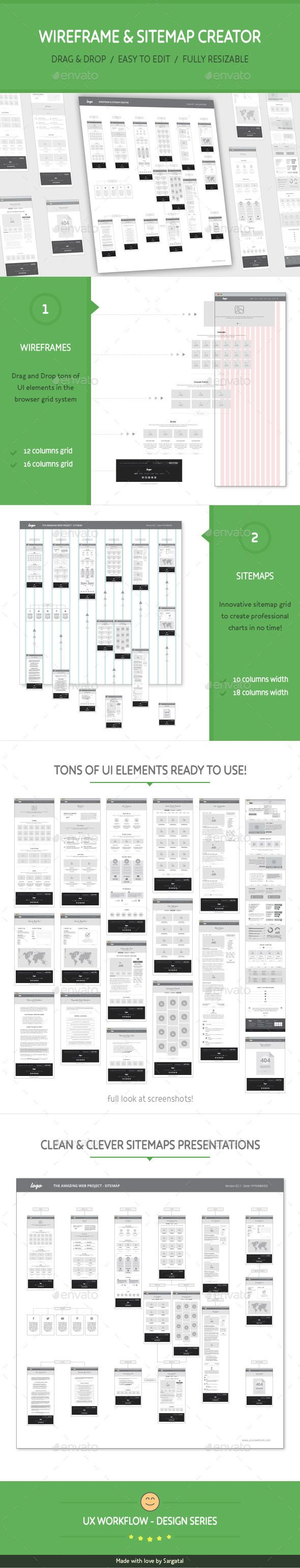 UX Workflow - Wireframe and Sitemap Creator - User Interfaces Web Elements