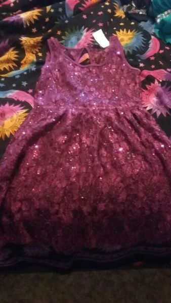 Purple sparkly floral dress.