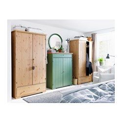 HURDAL Linen cabinet - IKEA I love the wardrobes and green linen chest! The bedside tables in this set are the same green!