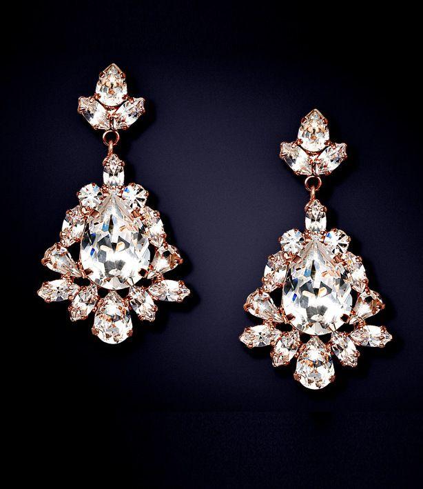 ELAINE - Rose Gold Crystal Pear Drop Earrings    marlenadupellejewelry.com