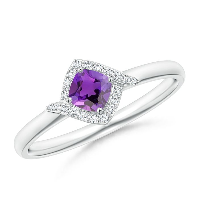 Angara Tapered Shank Amethyst Solitaire Ring with Four Prong W5WVb