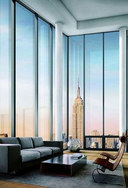 Minimalist Living Room With Floor To Ceiling Windows And Spectacular View Of Nyc