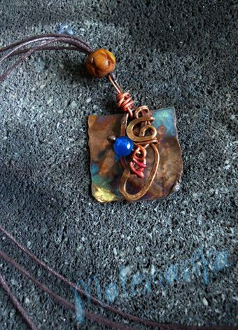 Rusty sweet copper plate, copper wire, dyed agate stone, bone beads SOLD