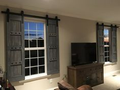 Interior Window Barn Door   Sliding Shutters   Barn Door Shutters With  Hardware   Farmhouse Style