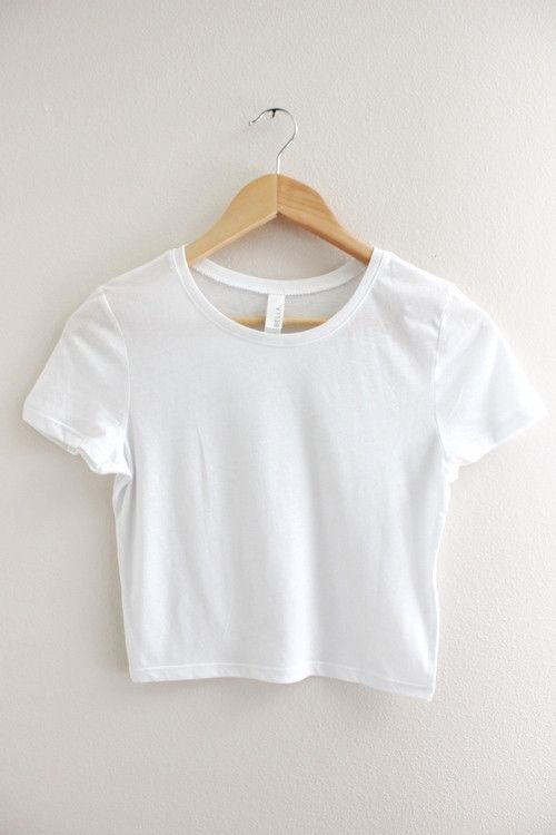 Solid white crop top with short sleeves and no graphic. Available in two sizes XS/S and M/L.
