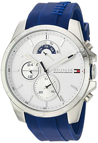 Tommy Hilfiger Mens COOL SPORT Quartz Stainless Steel and Silicone Casual Watch ColorBlue Model 1791349 >>> Click image to review more details.