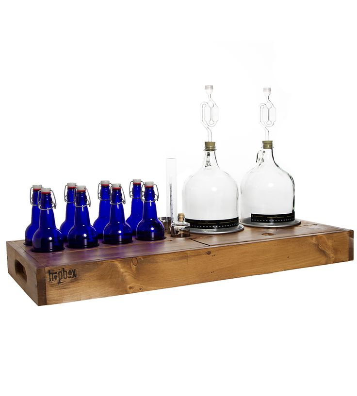 2-Gallon Home-Brewing Kit With Bottles & Wood Case by HopBox on Scoutmob Shoppe. It's like a brewers chemistry set. Amazing.