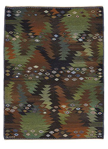 "245. BARBRO NILSSON, MATTA, ""Tånga brun och grön"", gobelängteknik, ca 228,5 x 171 cm,  signerad AB MMF BN."