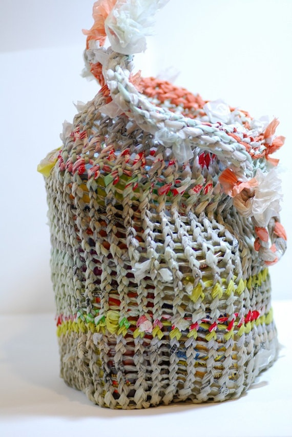 Knit tote from recycled plastic bags