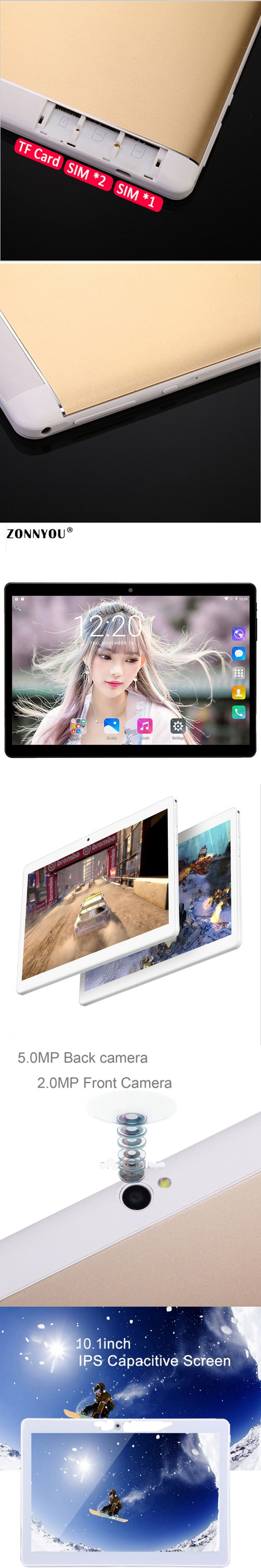 10.1 inch Tablet Pc 4G Lte 4GB Rom 32GB  Octa Core Phone Call card 1920x1200 Android 6.0 WiFi GPS Tablets pcs Tablets Dual SIM