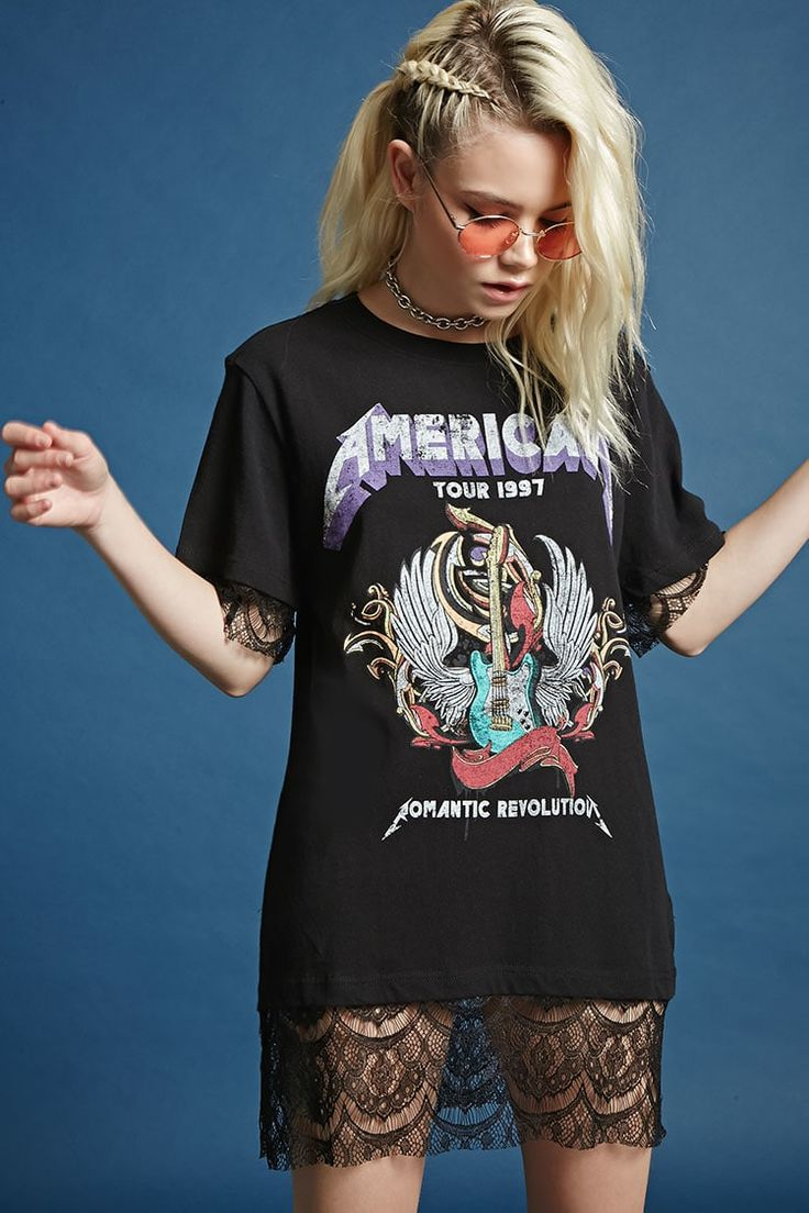 """A T-shirt dress featuring a front """"American Tour 1997 Romantic Revolution"""" with a guitar image, a back """"Romantic Revolution"""" with cities listed, a sheer eyelash lace hem, crew neck, and short sleeves with sheer eyelash lace trim."""