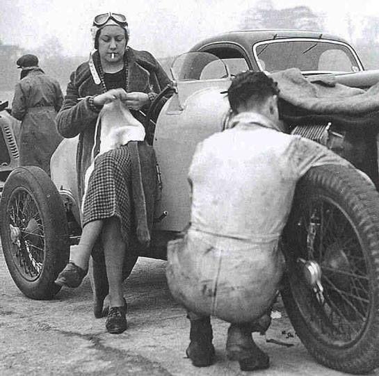 Mrs Marjorie Eccles waits her turn to drive at Brooklands, in her Rapier, 1936. Legend!