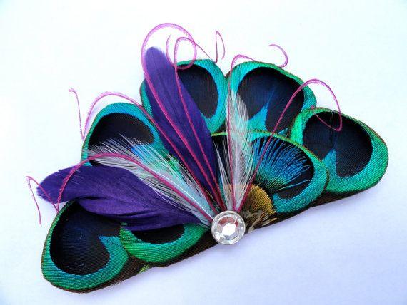 RIO Peacock blauwe paarse en roze Feather Hair Clip door Lucyohlucy