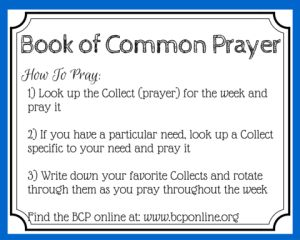 Praying from the Book of Common Prayer; Free printable prayer cards