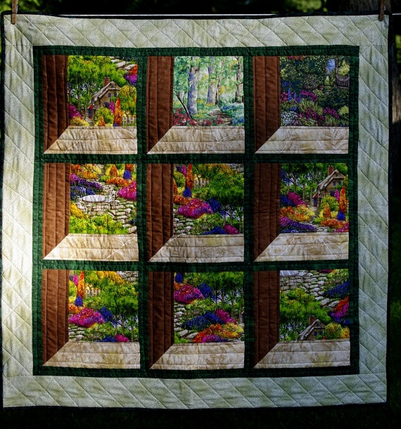 Foyer Window Quilt : Attic windows quilted wall hanging with garden scenes by