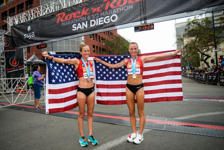 Amy Cragg 4-time Olympian Shalane Flanagan, right, and 2-time Olympian Amy Cragg, left, pose with the Stars and Stripes flag after both set personal best times running in the half marathon race during the 19th running of the Suja Rock 'n' Roll San Diego Marathon on June 5, 2016 in San Diego, California.