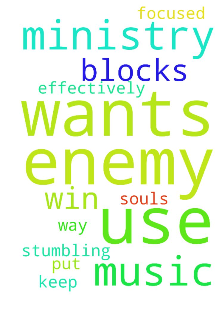 The Lord wants to use me in music ministry so the enemy - The Lord wants to use me in music ministry so the enemy has put stumbling blocks in my way. I pray God will keep me focused so I can win souls for Christ effectively. Posted at: https://prayerrequest.com/t/rN2 #pray #prayer #request #prayerrequest