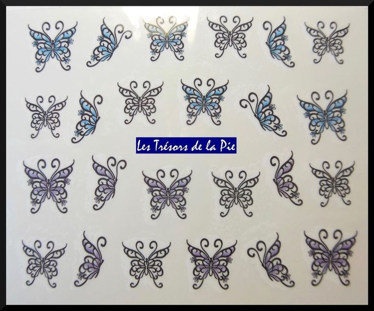 STICKERS ONGLES WATER DECAL (x24) - Nail art - Papillons - Multicolore