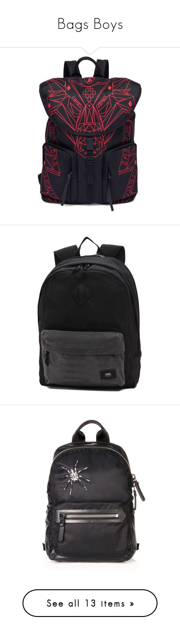 """Bags Boys"" by kokoxpops ❤ liked on Polyvore featuring men's fashion, men's bags, men's backpacks, apparel & accessories, black red, mens one strap backpack, mens leather backpack, mens backpack, bags and black"