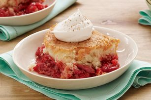 Rhubarb Dump Cake recipe: I used a french vanilla cake mix instead of white. A yellow mix would also work. This is not tart at all. A big hit at my house!