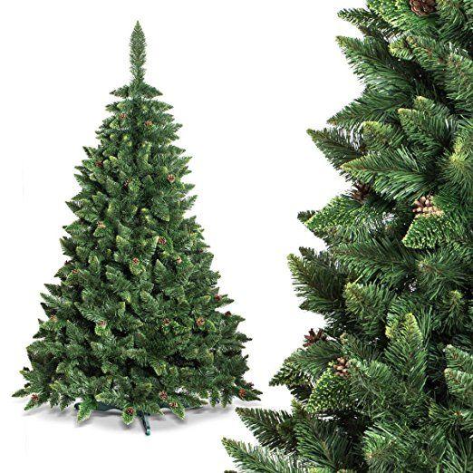 FAIRYTREES Árbol de Navidad artificial modelo PINO, blanco natural nevado, material PVC, piñas auténticas, incluye soporte, 150 cm, FT03-150: Amazon.es: Hogar