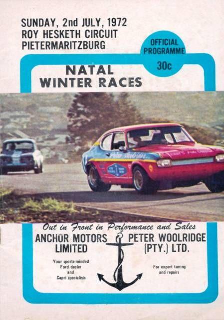 Roy Hesketh Racing Programmes 2nd July 1972 | Pietermarizburg