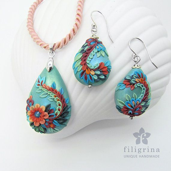 Polymer clay filigree applique technique, handmade jewelry, pendant and earrings, green teal and coral, vintage, wedding jewelry, flowers, floral jewelry, paisley, pear shape, teardrop shape  UNDINA   unique SET of pendant & earrings with floral motif by Filigrina, €49.39