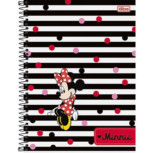 Caderno Universitário Minnie 10 Matérias 200 Folhas  Listras  - Tilibra
