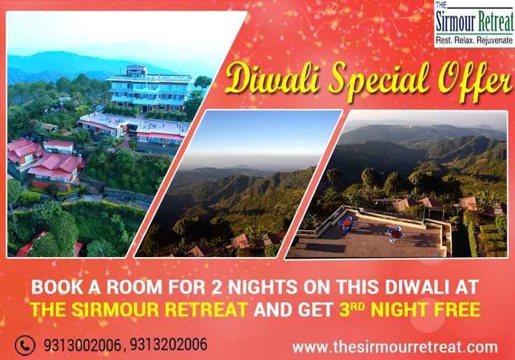 Make your #Festival more special with some #Fabulous #Diwali #Offer with The Sirmour Retreat.  Book a room for 2 nights and get 3rd night #free.  Visit: https://goo.gl/tgnH2x